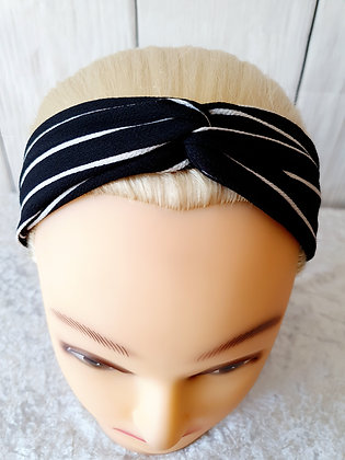 Black with White Stripes Elasticated Head Band