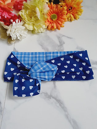 Blue Hearts and Tartan Wired Head Wrap