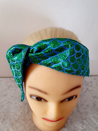 Green Mermaid Scales Wired Hair Tie