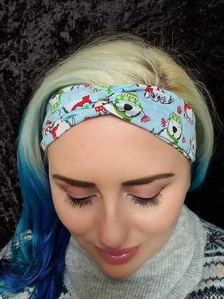 Christmas Westies on Blue Elasticated Head Band