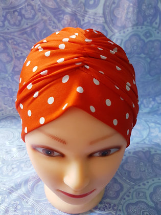 Orange Polka Chemo Cap Turban