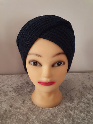 Hand Knitted Turban on Navy