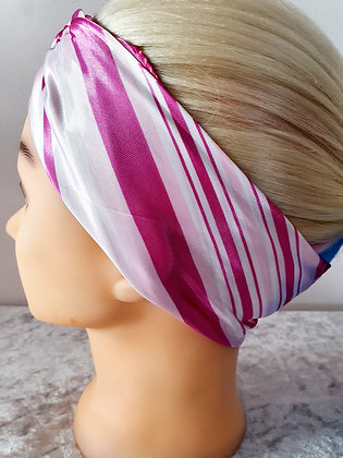 Pink Squared Silk Head Scarf