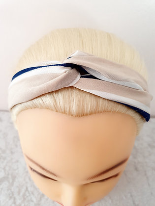Pastel and Navy Elasticated Head Band
