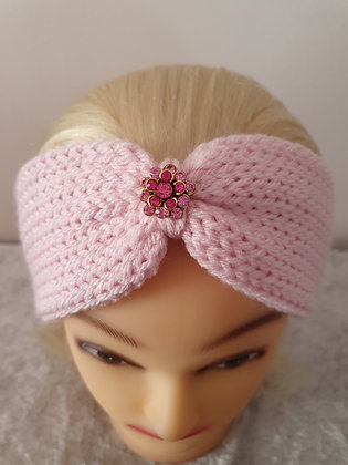 Baby Pink Knitted Head Band
