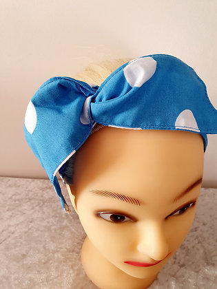 Large Blue Polka Dot Wired Hair Tie