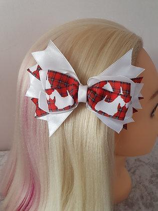 White Scottie Large Tartan Hair Bow