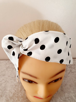 Black on White Polka Dot Wired Hair Tie
