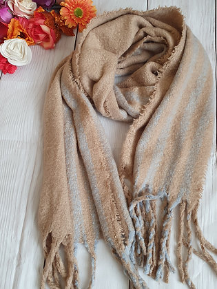Beige and Grey Super Soft Winter Scarf