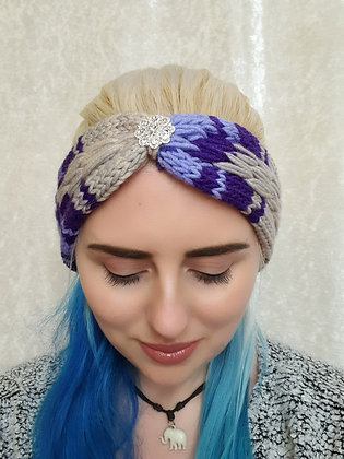 Purple and Silver Pleat Knitted Head Band