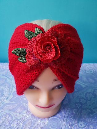 Red Roses Double Width Knitted Head Band