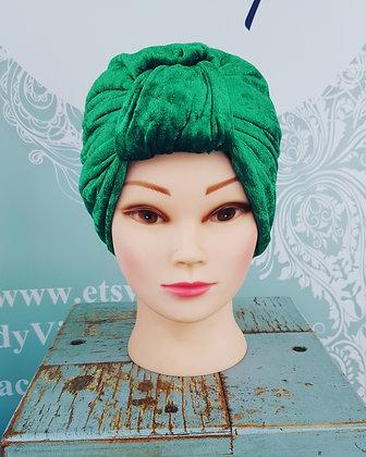 Emerald Green Crushed Velvet Turban