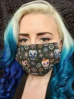 Candy Skulls Black Face Mask