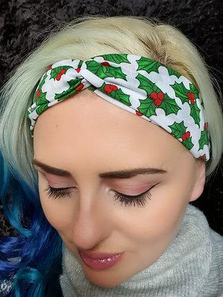 Christmas Holly Elasticated Head Band