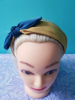 Mustard and Blue Bowed Head Band