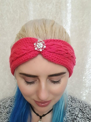 Lipstick Pink Pleat Knitted Head Band