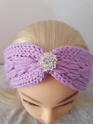 Lilac Pleat Knitted Head Band