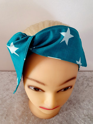 Turquoise Stars Wired Hair Tie