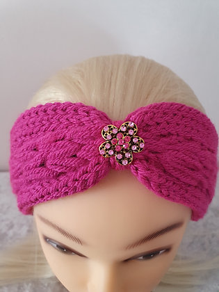 Magenta Pink Pleat Knitted Head Band