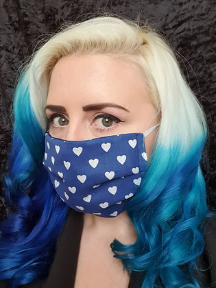 Hearts on Navy Face Mask