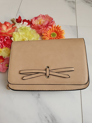 Beige Bow Satchel