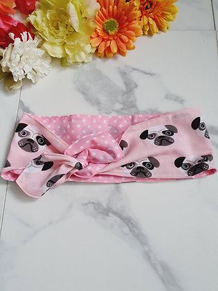 Pink Pugs Wired Head Wrap
