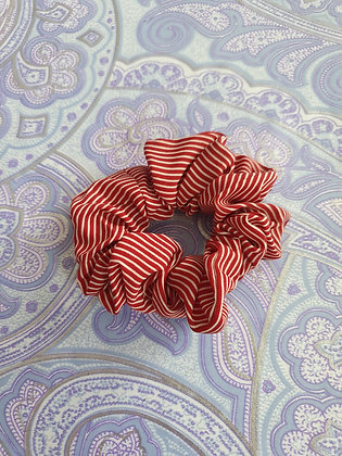 Hand Made Scrunchie - Red Stripes