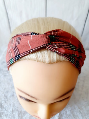 Pink Tartan Elasticated Head Band