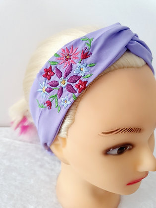 Embroidered Bouquet Elasticated Head Band