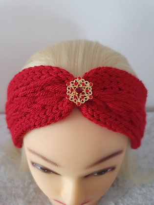 Red Pleat Knitted Head Band