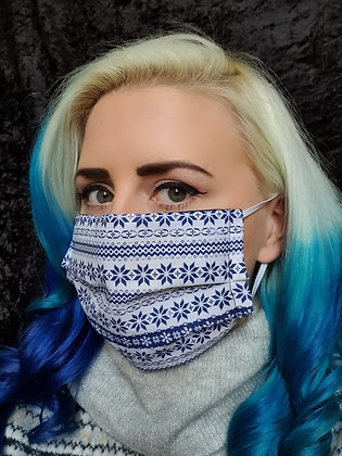 Blue Christmas Decorative Face Mask