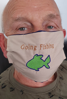 """""""Going Fishing"""" Embroidered Face Mask"""