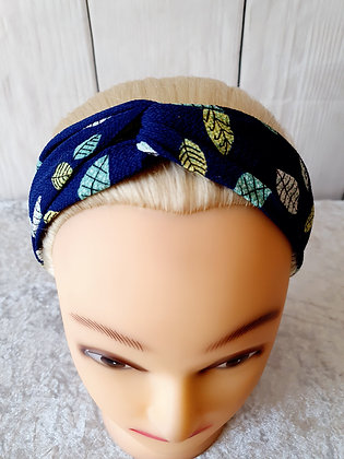 Navy Leaves Elasticated Head Band
