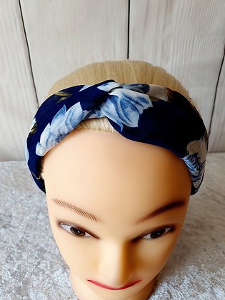 Delicate Navy Floral Elasticated Head Band