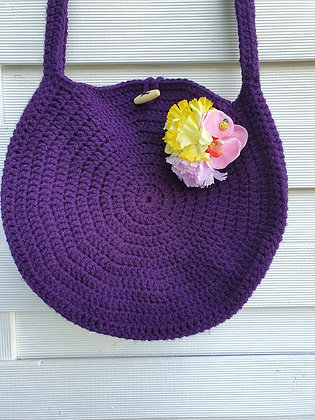Hand Crochet Summer Bag in Dark Purple
