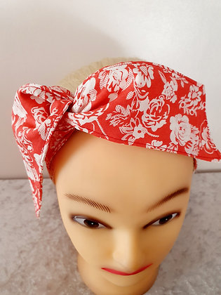 Roses on Pale Red Wired Hair Ties