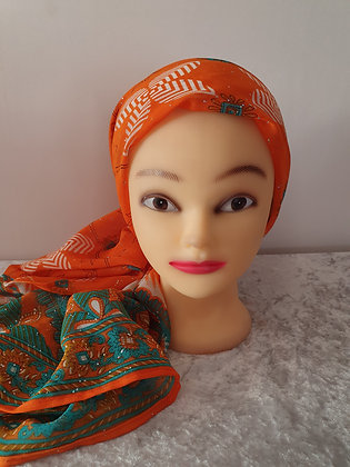 Orange and Blue Large Head Scarf