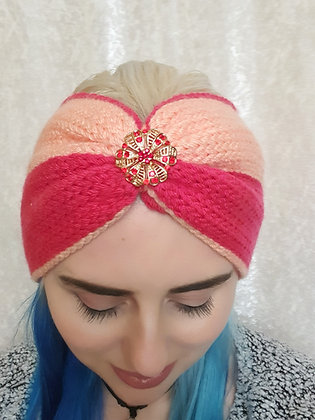 Pink Two Tone Double Width Knitted Head Band