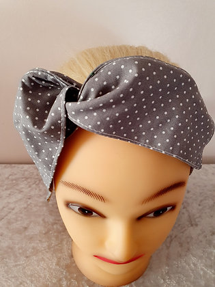 Grey Polka Dot Wired Hair Tie