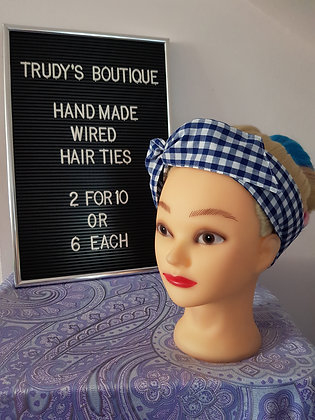 Cobalt Blue Gingham - Wired Hair Tie