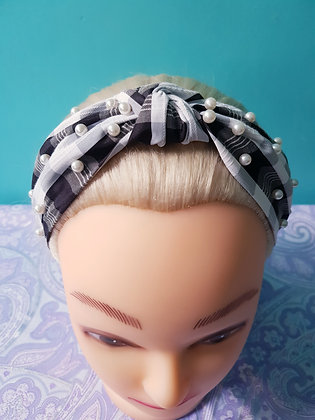 Pearl Black Gingham Head Band
