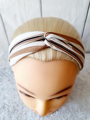 Beige and White Stripes Elasticated Head Band