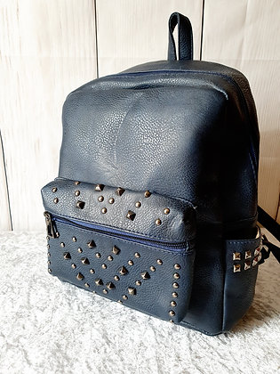 Leather Look Embellished Rucksack in Navy