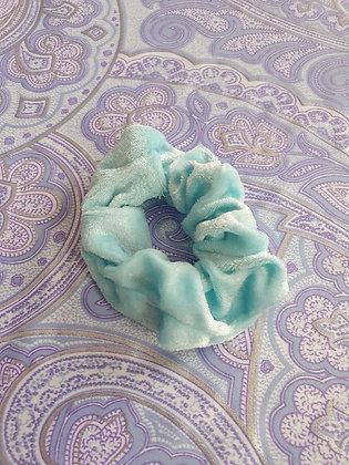 Hand Made Scrunchie - Mint Blue Velvet