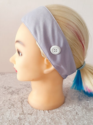 Button Head Band in Dove Grey - to hold face masks