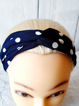 Navy Polka Elasticated Head Band