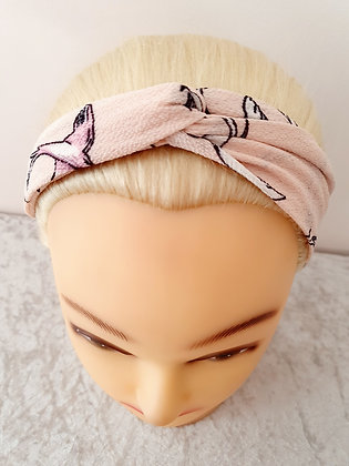 Birds on Pink Elasticated Head Band
