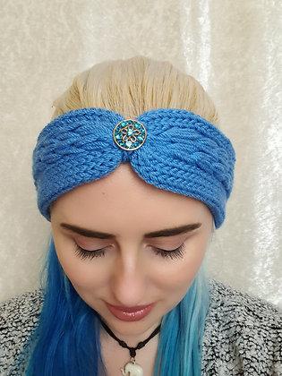 Denim Pleat Knitted Head Band