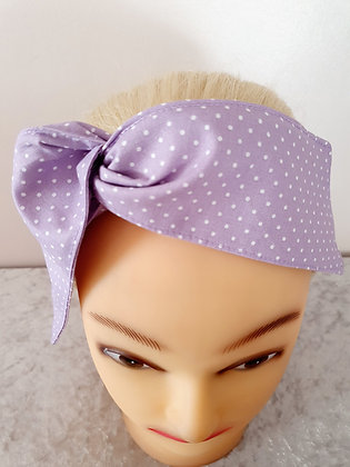 Light Purple Polka Dot Small Wired Hair Tie