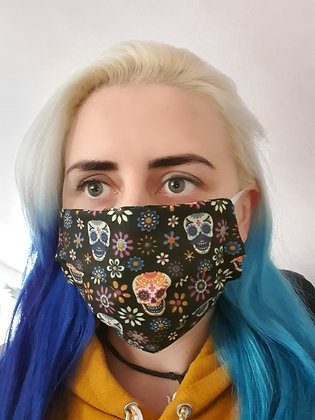 Candy Skulls Black Face Mask